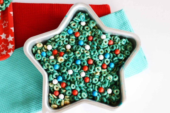 Star Shaped Cereal Treat in a star shaped metal baking dish.