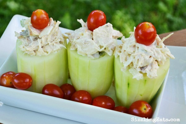 Cucumber Cups Stuffed with Grilled Chicken Salad - Sizzling Eats