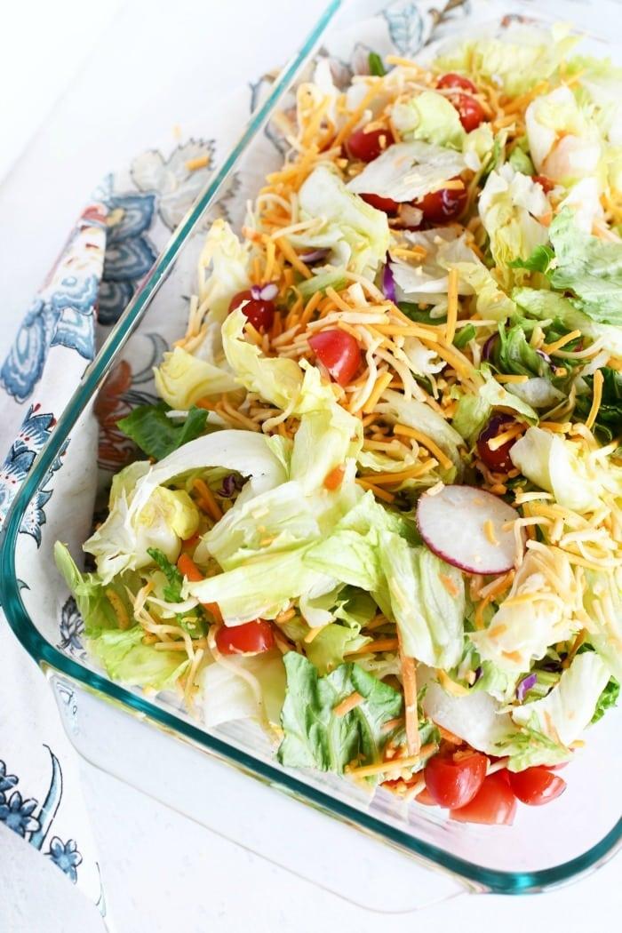 Taco salad in pyrex