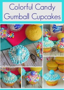 Colorful Candy Gumball Cupcakes