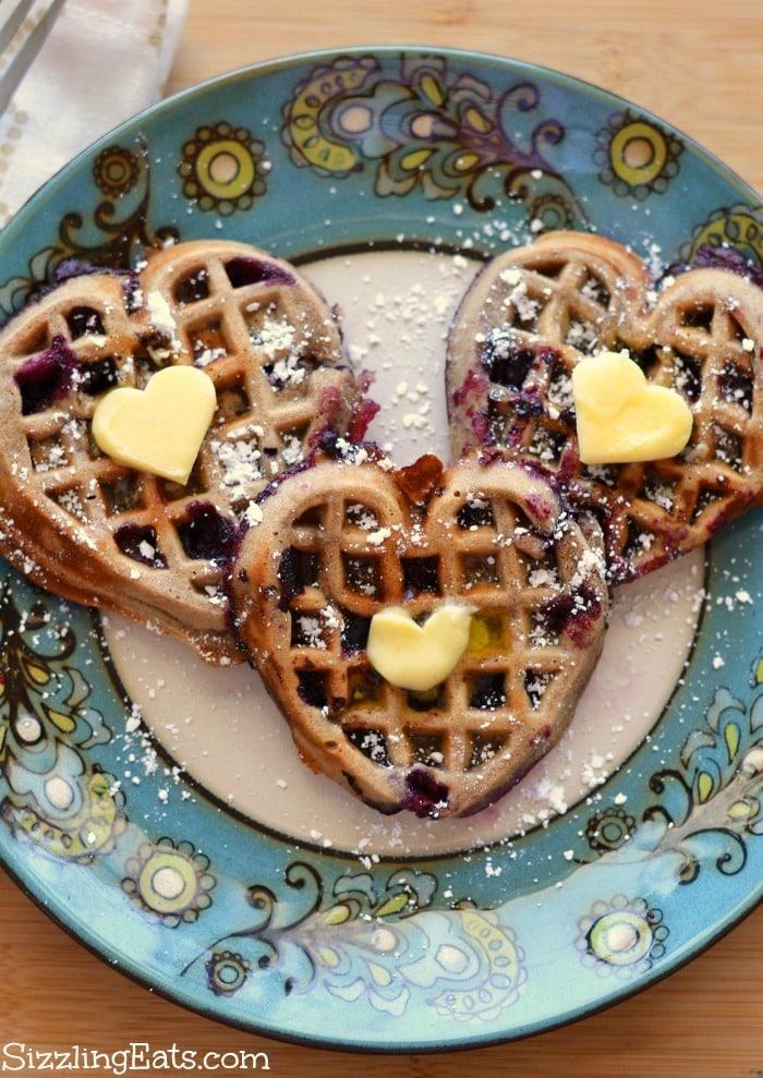 Heart-shaped-blueberry-waffles