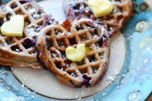 Heart-Shaped Whole Wheat Cinnamon Blueberry Waffles Recipe