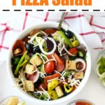 Pizza Salad in a white bowl