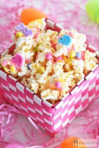 Candy Drizzled Easter Popcorn