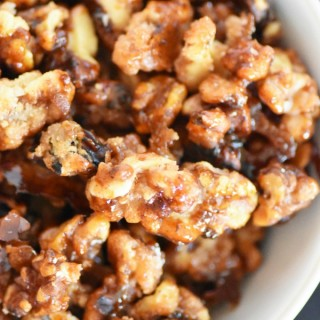 Candied Walnuts in Bowl Recipe in White Bowl