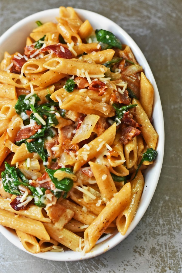 Bacon-spinach-pasta