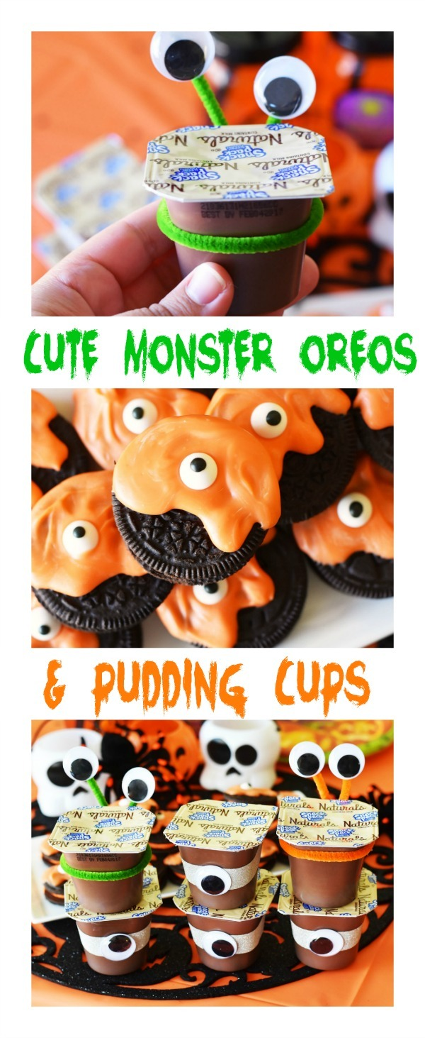 Halloween Monster Oreos & Alien Pudding Cups Party Treats