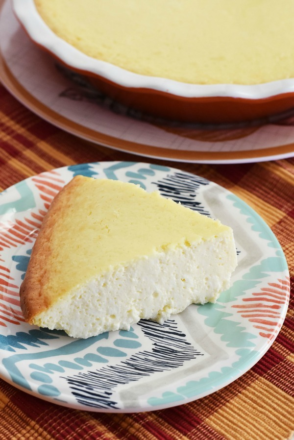 crustless cheesecake-in-pie-dish