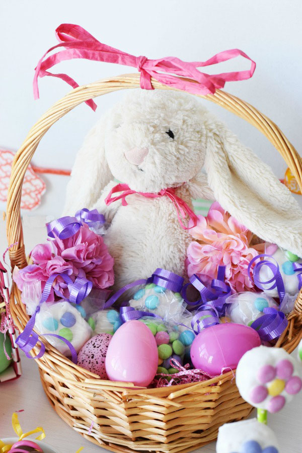 Pink Floral Easter Basket1
