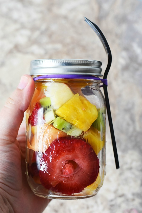 fruit salad in mason jar