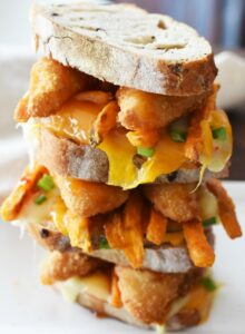 Chili Cheese fish and chips cheese melt