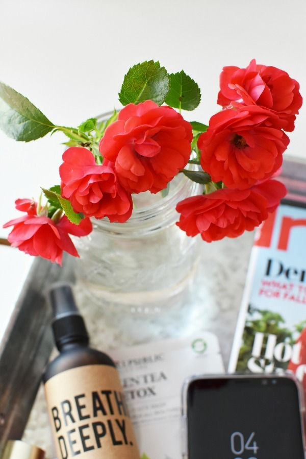 Red Roses in jar