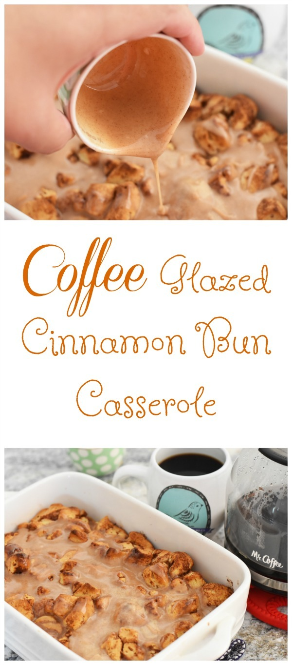 Coffee Glazed Cinnamon Bun Casserole