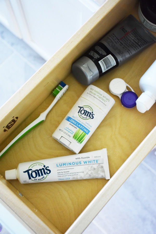 Toms of Maine products in drawer