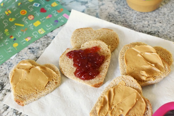 heart shaped peanut butter and jelly