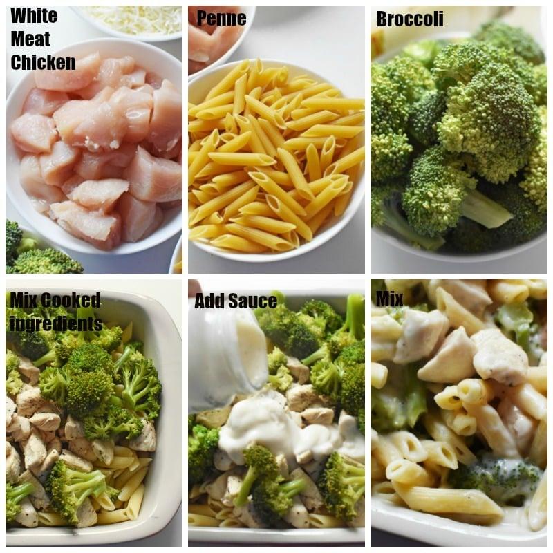 Chicken Broccoli Alfredo Casserole process grid.