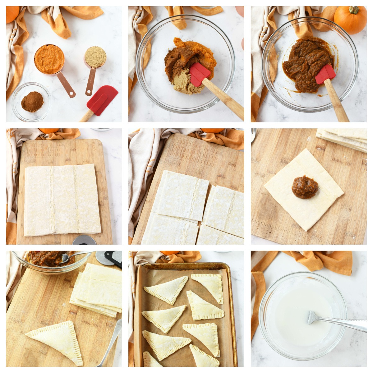 A nine image collage to show how to make pumpkin turnovers.