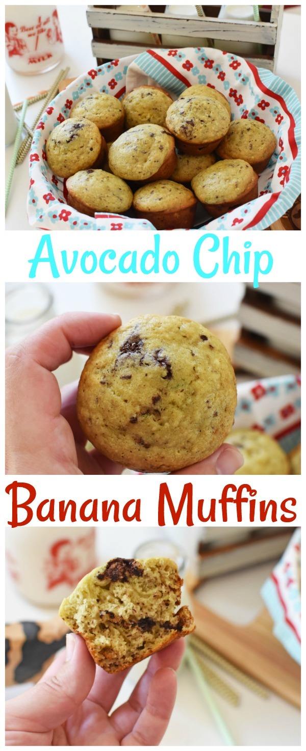 Avocado Chip Banana Muffins- A better for you muffin recipe!