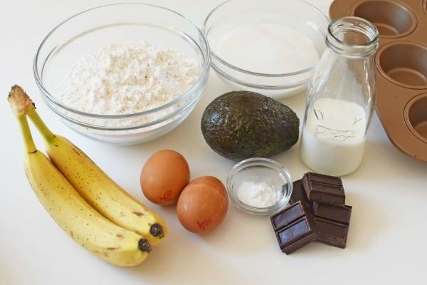 Avocado Chocolate Banana Muffins Ingredients1