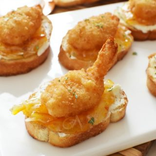 Deconstructed Coconut Shrimp Crostini appetizer1