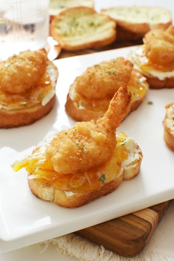 Deconstructed Coconut Shrimp Crostini appetizer1