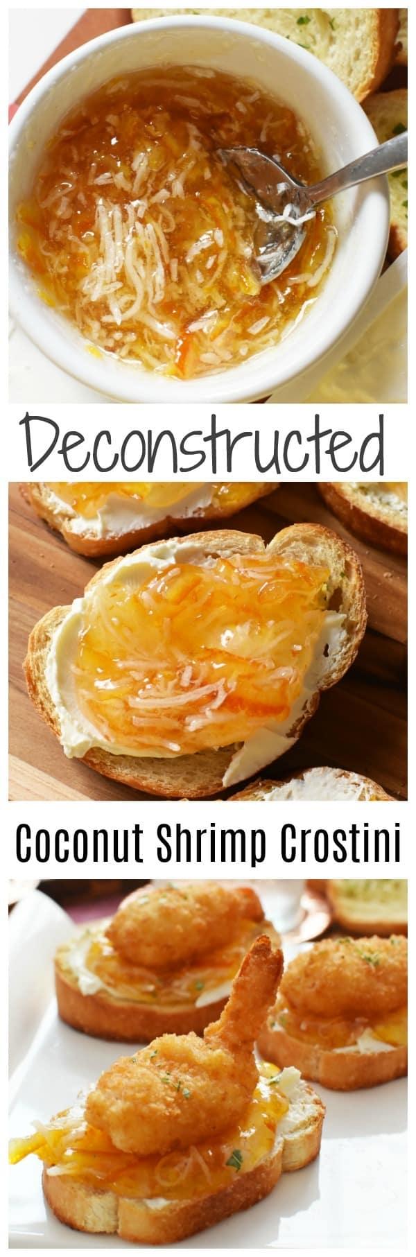 Easy Appetizer- Deconstructed Coconut Shrimp Crostini