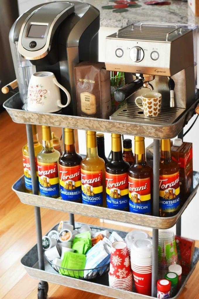 Holiday Coffee Bar Cart with Torani syrups