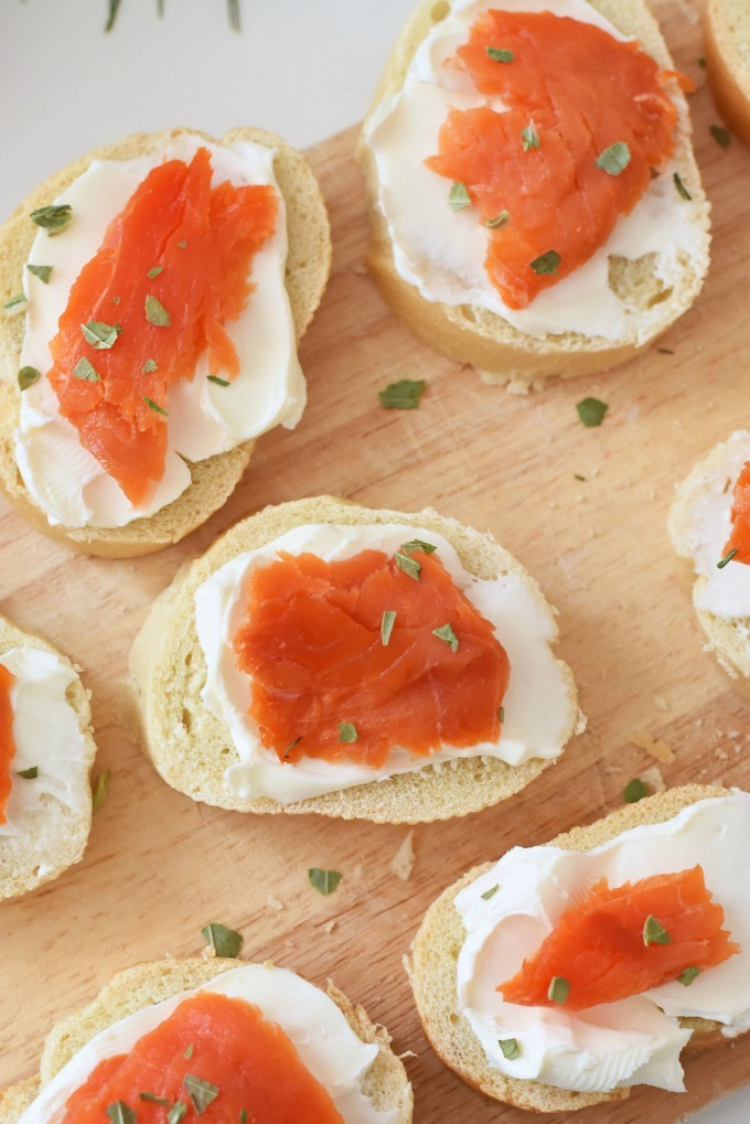 Salmon Slices and Cream Cheese Crostini1