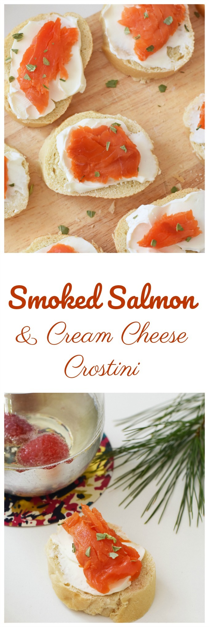 Smoked Salmon Slices and Cream Cheese Crostini Appetizer Bites