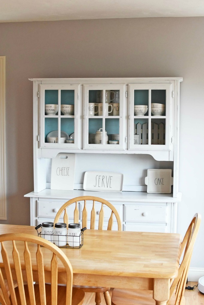 Farmhouse Chic White Hutch with Rae Dunn Pottery1