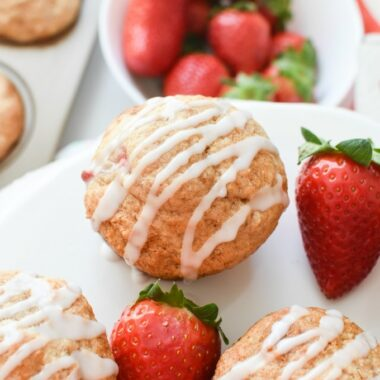 Iced Whole Wheat Strawberry Muffins