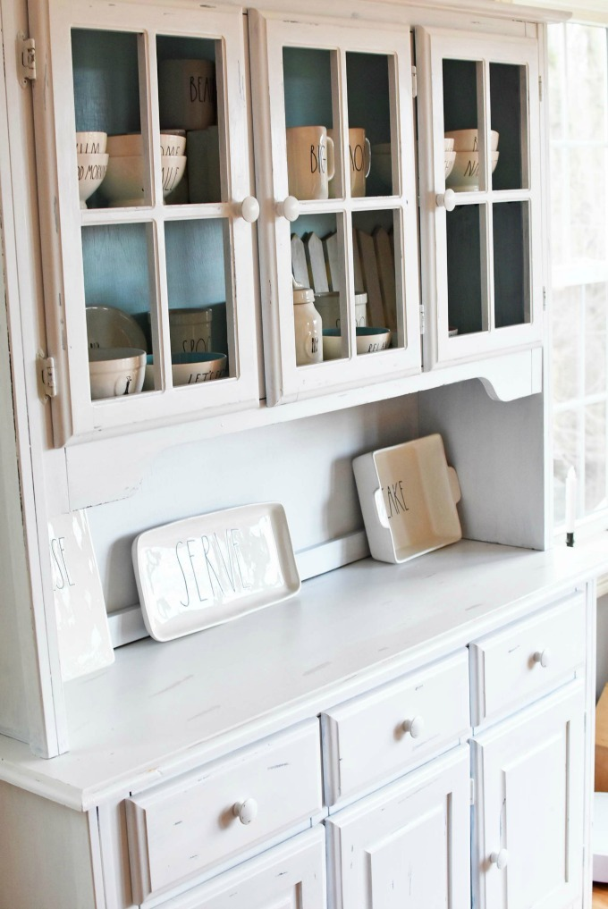 Rae Dunn Pottery in Farmhouse Chic hutch1