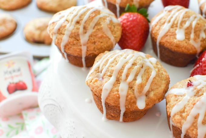 Strawberry Yogurt Muffins with Icing