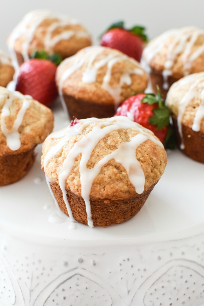Whole Wheat Strawberry Muffins with Icing