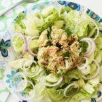 Tuna salad on blue plate
