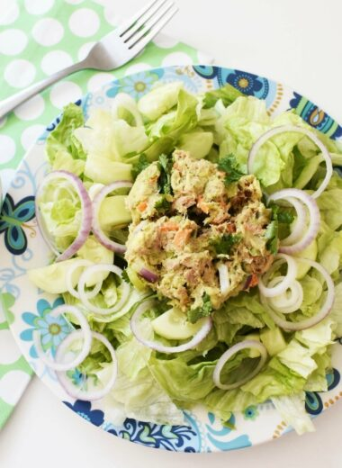 Tuna salad on blue plate