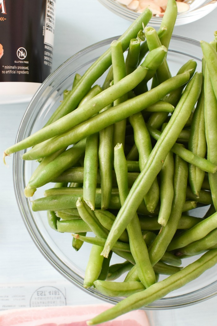 Raw Green Beans in Dish