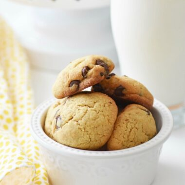 Almond Flour Chocolate Chip Cookie Recipe with a glass of milk