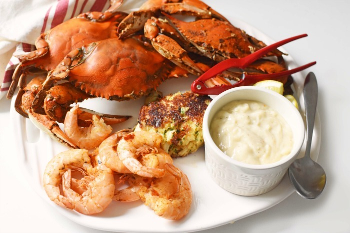 Maryland Seafood Meal on white platter