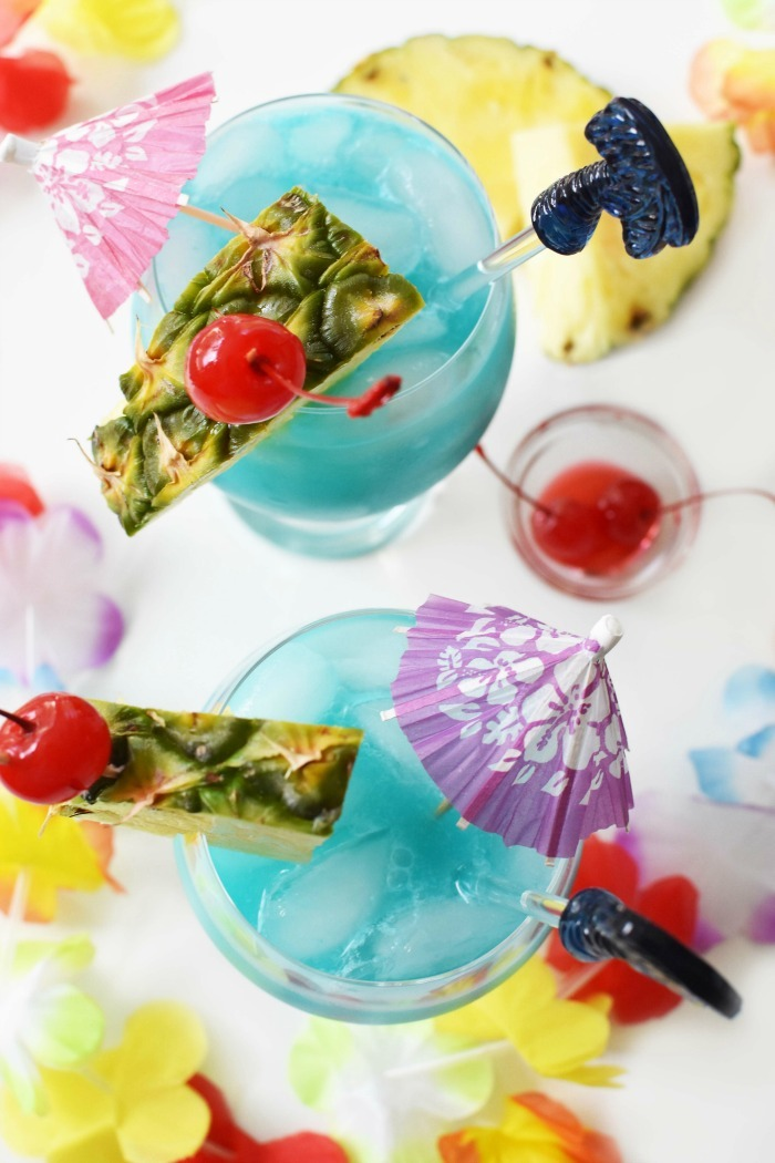 Blue Hawaii Drink in Glasses