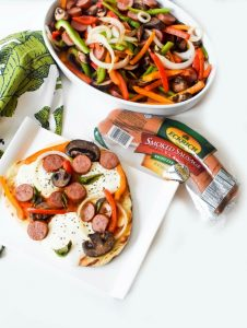 Timesaving Grilled Sausage Flatbread Pizza with Onions, and Peppers
