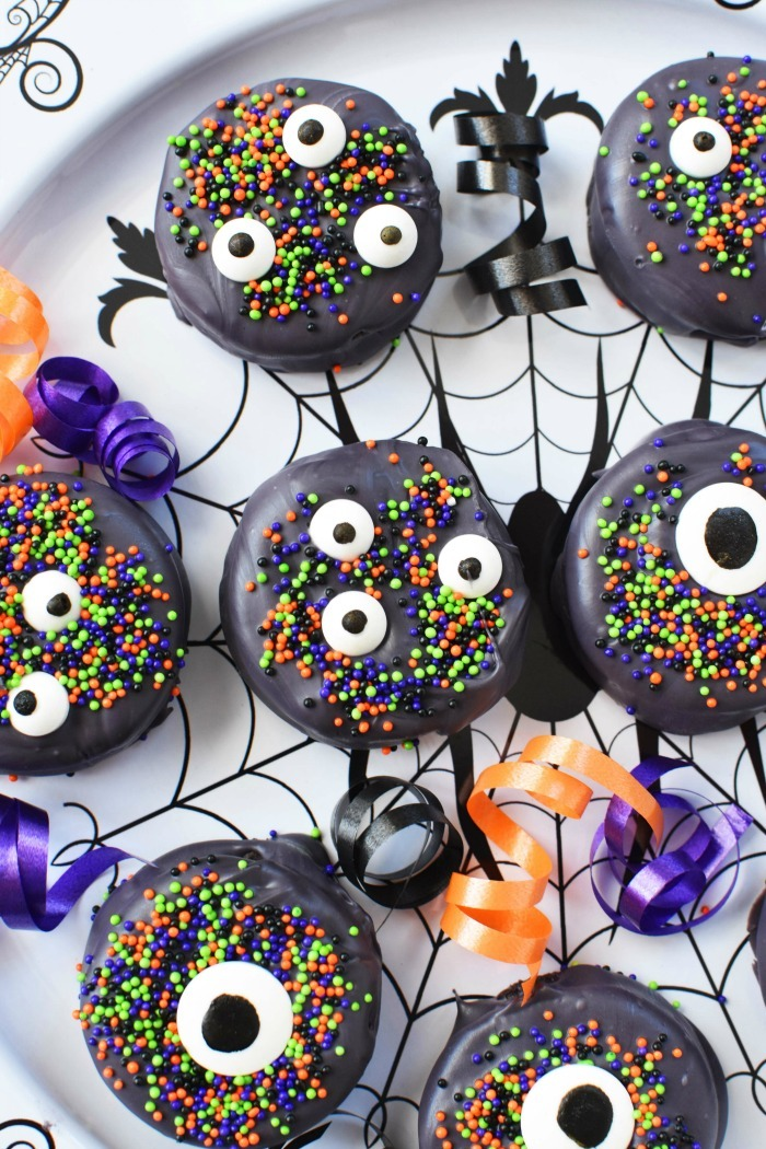 Candy Covered Halloween Oreos