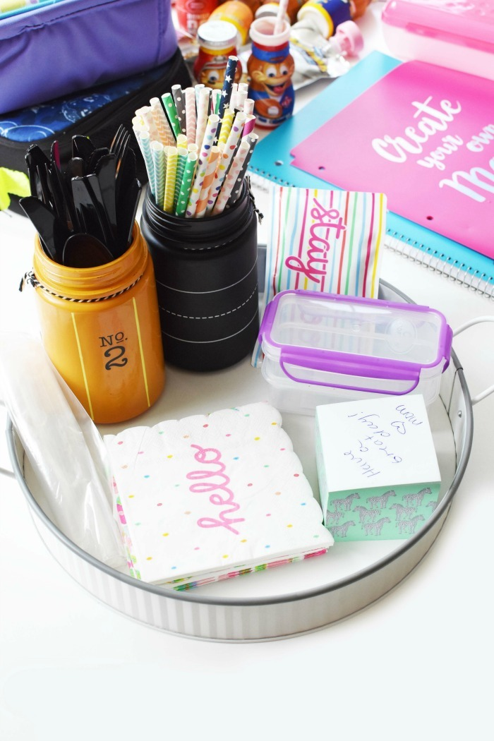 DIY Lunch Organization Station - Keep all your lunch packing items in one organized area.
