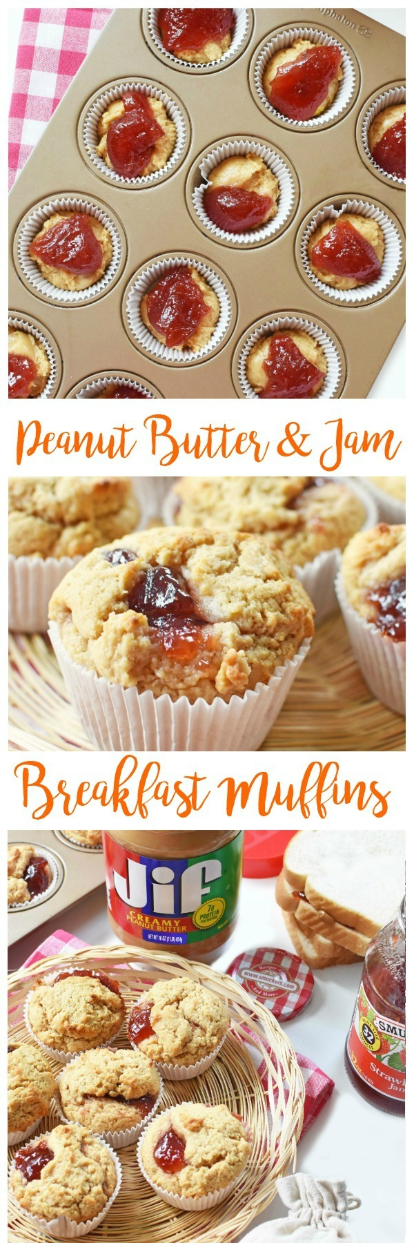 Peanut Butter and Jam Muffins perfect for breakfast or a lunchbox snack!