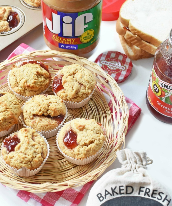 Peanut Butter and Jelly Muffins in Basket 1