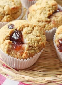 Peanut butter muffins with Smuckers Jam 1