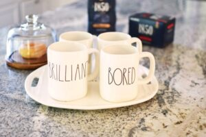 Rae Dunn Coffee Mugs on Tray 1