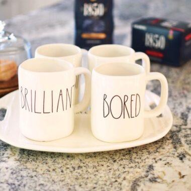 Rae Dunn Coffee Mugs on Tray 1