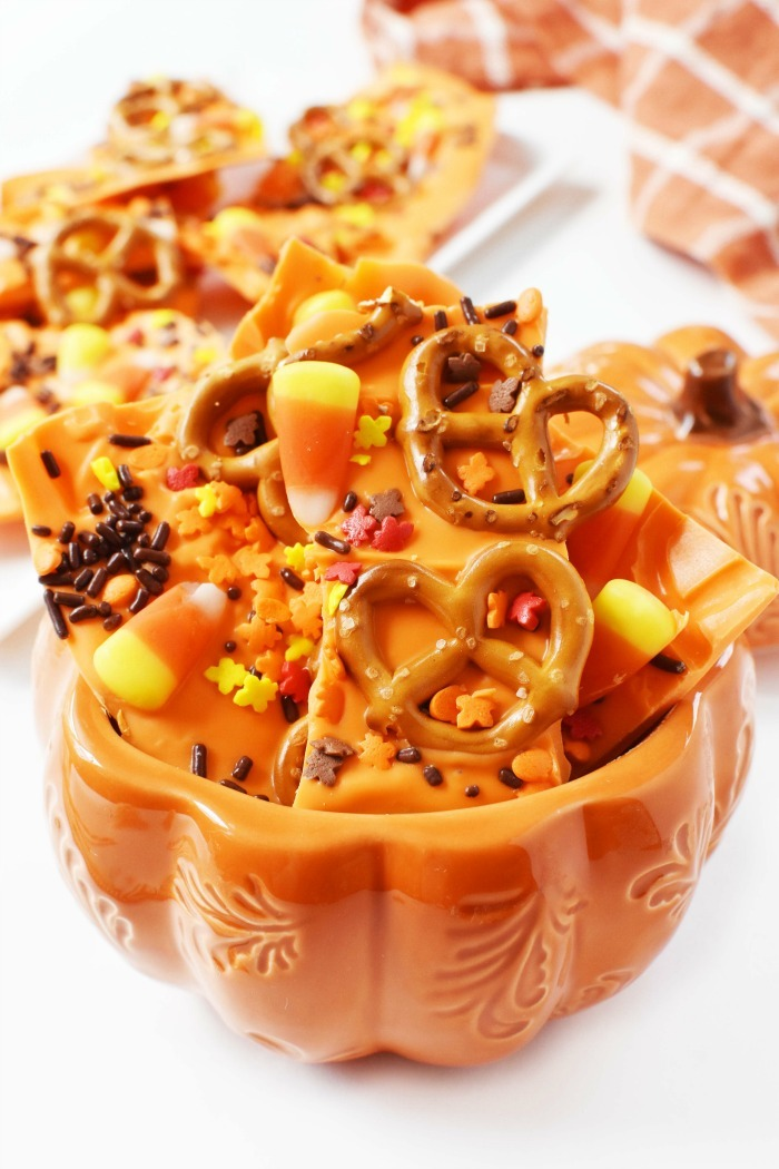 Harvest Fall Candy Bark in a Pumpkin 1