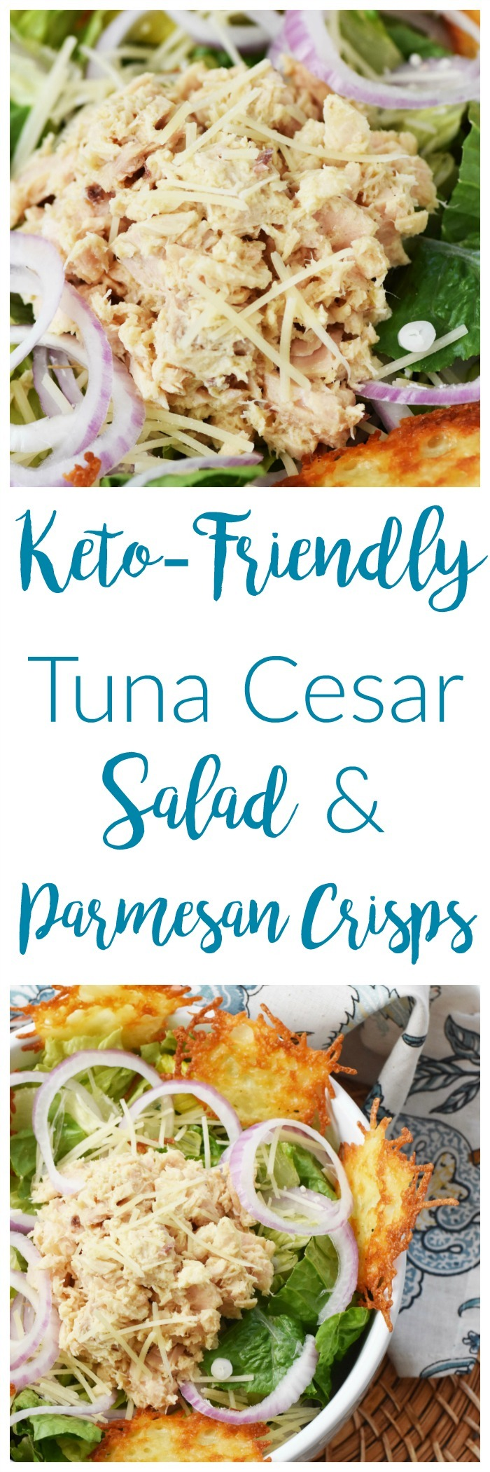 Keto-Friendly Tuna Caesar Salad with Parmesan Crisps